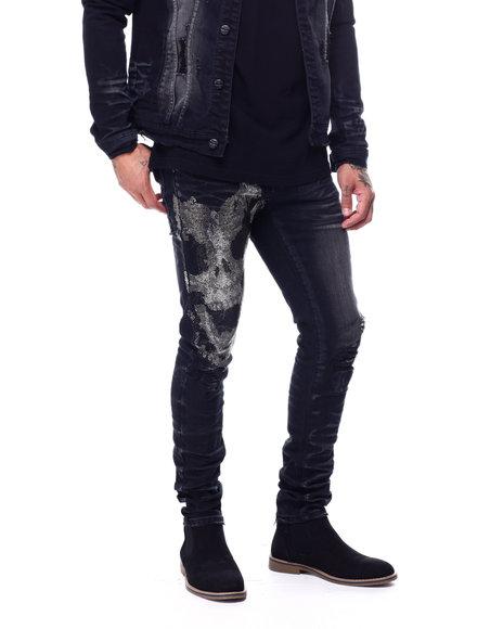 Industrial Indigo - Flame Skull Stretch Jean