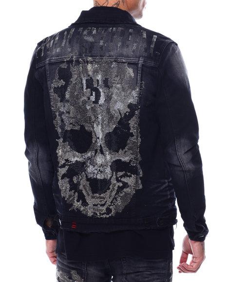 Industrial Indigo - Flame Skull Denim Jacket