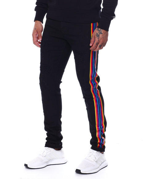 Preme - Distressed Black Jean w Rainbow Stripe