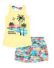 Sizes 7-20 - Big Kids - 2 Pc Flamingo Beach Scene Tank & Shorts Set (7-16)-2479699