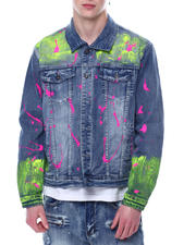 Stylist Picks - Neon Paint Splatter Denim Jacket-2481491