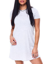 Women - S/S Rib Crew Neck Swing Dress-2477520