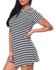 Women - S/S Stripe Rib Crew Neck Swing Dress-2477548