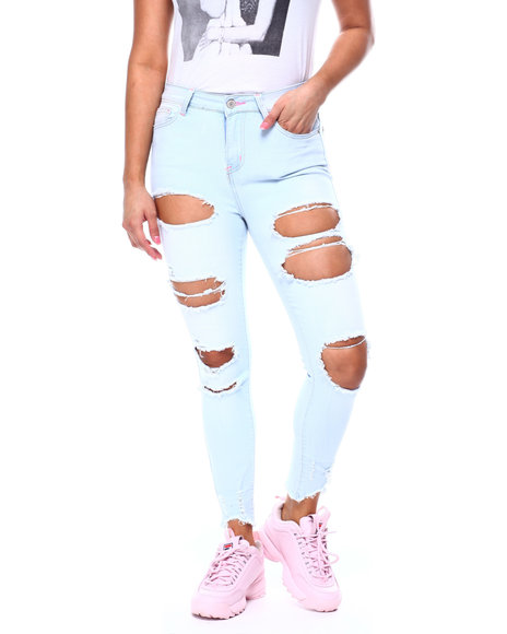 Fashion Lab - High Rise Blow Out Ripped Ankle Jean