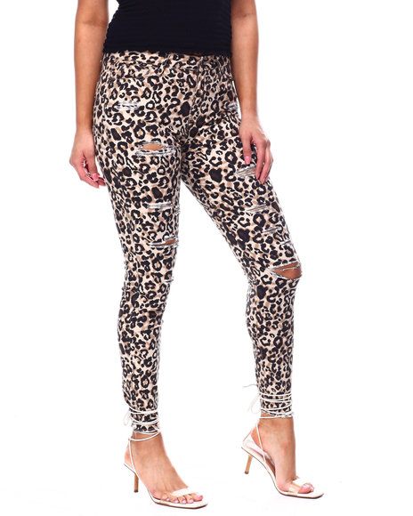 Fashion Lab - High Rise Destructed Leopard Print Skinny Ankle