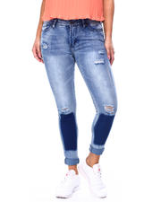 Jeans - Two Tone Patch Distressed Roll Cuff Skinny Jean-2482547