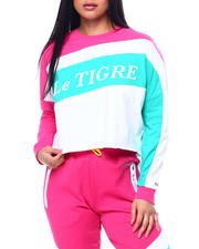 Le Tigre - Harper Color Block L/S Crop Crew Neck T-Shirt-2482899