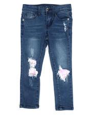 La Galleria - Rip & Repair Denim Jeans W/ Neon Lining (4-6X)-2482459