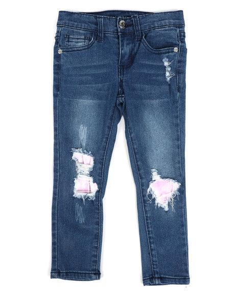 La Galleria - Rip & Repair Denim Jeans W/ Neon Lining (4-6X)