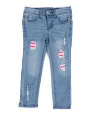 La Galleria - Rip & Repair Denim Jeans W/ Neon Lining (4-6X)-2482468