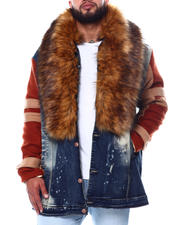 Outerwear - Camron Fur Collar Long Denim Jacket (B&T)-2480742