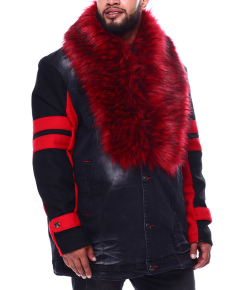 Makobi - Camron Fur Collar Long Denim Jacket (B&T)
