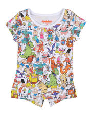 Sizes 2T-4T - Toddler - 90s Nick All Over Print Split Back Tee (2T-4T)-2482340