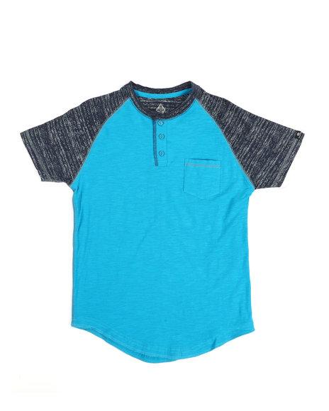 Arcade Styles - Two Tone Raglan Short Sleeve Slub Henley T-Shirt (8-20)