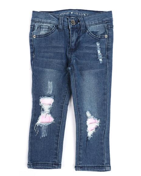 La Galleria - Rip & Repair Denim Jeans W/ Neon Lining (2T-4T)
