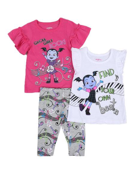 Disney - 3 Pc Vampirina Ghoul Girls Rock Tee, Tank & Printed Leggings Set(2T-4T)