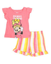 Sizes 2T-4T - Toddler - 2 Pc Minnie #Always Trending Tee & Stripe Shorts Set (2T-4T)-2484701