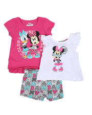 Sizes 2T-4T - Toddler - 3 Pc Minnie Athletic Club Tee, Tank, & Printed Shorts Set (2T-4T)-2484713