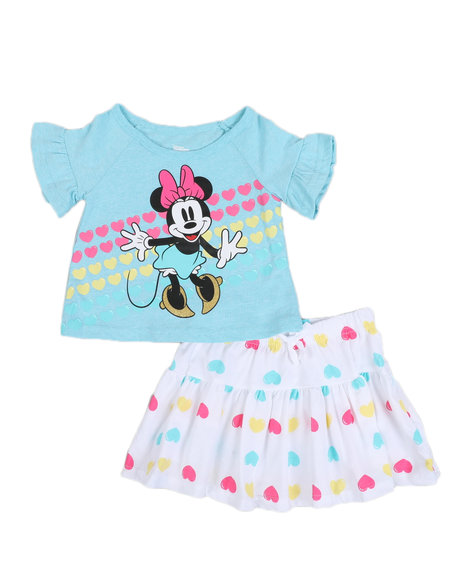 Disney - 2 Pc Minnie Heart Tee & Skirt Set (2T-4T)