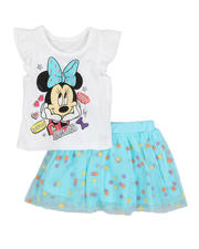 Sizes 2T-4T - Toddler - 2 Pc Minnie Smile Tee & Tulle Skirt Set (2T-4T)-2484744