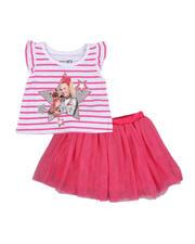 La Galleria - 2 Pc Jojo Siwa Striped Tee & Tulle Skirt Set (2T-4T)-2484772