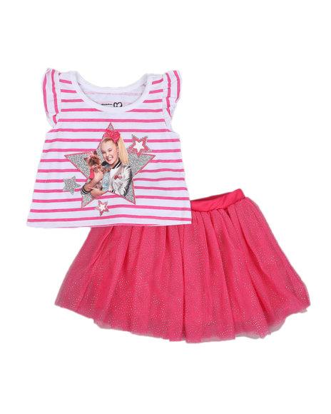 La Galleria - 2 Pc Jojo Siwa Striped Tee & Tulle Skirt Set (2T-4T)