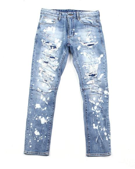 SMOKE RISE - Slim distressed Apline Blue Wash Jean