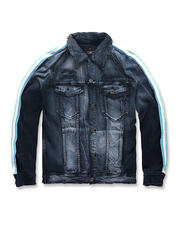 Denim Jackets - Distressed Side Stripe Denim Jacket-Midnight Carnival-2486179