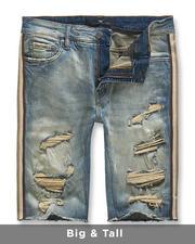 Big & Tall - Side Stripe Denim Shorts (B&T)-2488201