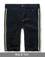 Big & Tall - Neon Side Stripe Denim Shorts (B&T)-2488206