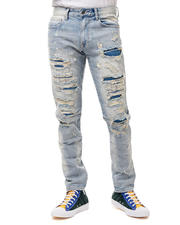 SMOKE RISE - Slim distressed Apline Blue Wash Jean-2487751
