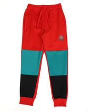 Boys - Color Block Scuba Joggers W/ Crest Print (8-18)-2489582