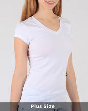 Plus Size - S/S V Neck T-Shirt(Plus)-2488249