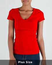 Red Fox - S/S V Neck T-Shirt(Plus)-2488261