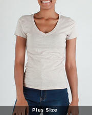 Plus Size - S/S V Neck T-Shirt(Plus)-2488265