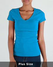 Tops - S/S V Neck T-Shirt(Plus)-2488253