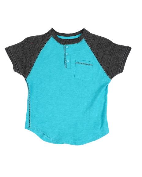 Arcade Styles - Two Tone Raglan Short Sleeve Slub Henley T-Shirt (4-7)