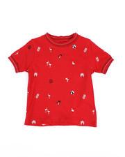 Arcade Styles - Allover Flamingo Umbrella Print Ringer T-Shirt (2T-4T)-2490276