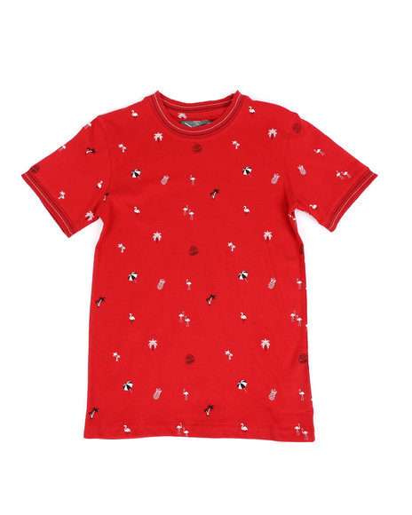 Arcade Styles - Allover Flamingo Umbrella Print Ringer T-Shirt (8-18)