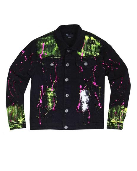 Buyers Picks - Neon Paint Splatter Denim Jacket