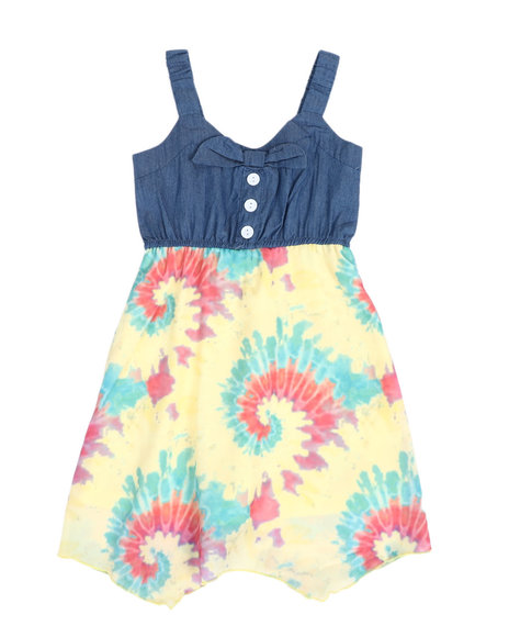 La Galleria - Chambray Dress W/ Tie Dyed Woven Skirt (4-6X)