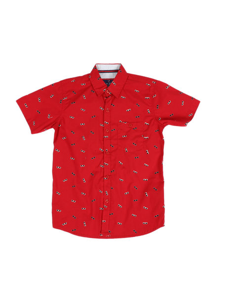 Arcade Styles - All Over Sunglasses Print Button Down Shirt (8-18)
