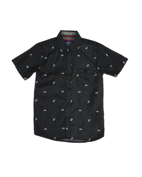 Arcade Styles - All Over Bicycle Print Chambray Button Down Shirt (8-18)