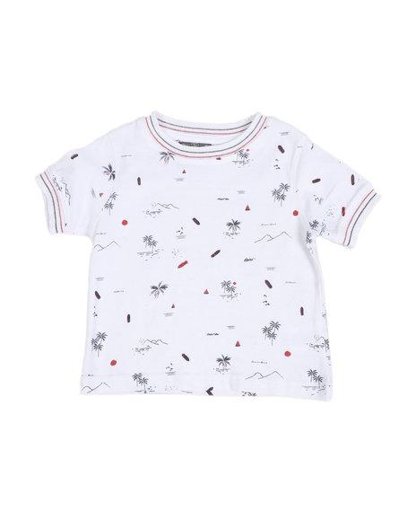 Arcade Styles - Allover Beach Print Ringer T-Shirt (2T-4T)