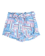 La Galleria - Aztec Print Smoked Waist Shorts (4-6X)-2490399