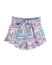La Galleria - Aztec Print Smoked Waist Shorts (4-6X)-2490403