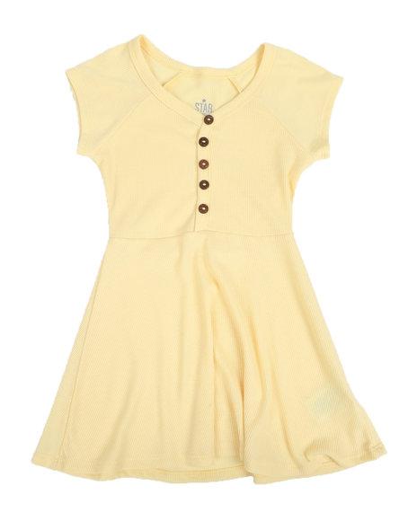 La Galleria - Cap Sleeve Rib Dress W/ Mocked Button Placket (4-6X)