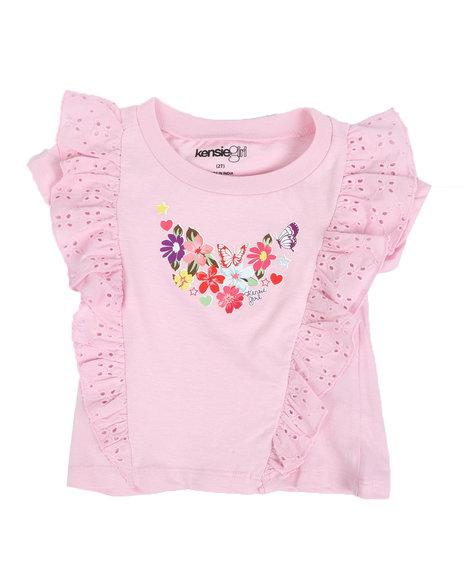 Kensie Girl - Brea Floral Jersey Ruffle/Eyelet Tee (2T-4T)