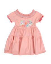 Dresses - Masie Floral Embroidery Off Shoulder Peasant Dress (4-6X)-2490472