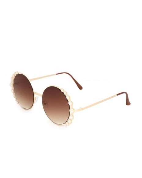Fashion Lab - Oversized Sunglasses W/ Pearls
